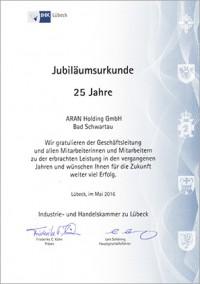 Glückwünsch der IHK zu Lübeck zum 25-jährigen Jubiläum